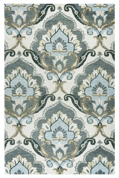 Beige, Gray, Light Blue Transitional Area Rug