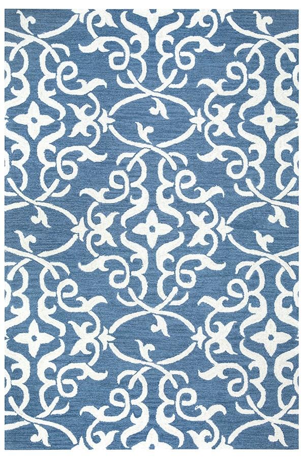 Blue, Off White Damask Area Rug