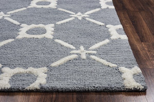 Light Blue, Off White Transitional Area Rug