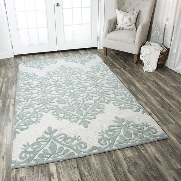 Green, Grey, Off White Damask Area Rug