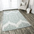 Product Image of Green, Grey, Off White Damask Area Rug