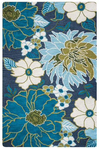 Navy, Light Blue, Khaki, Sage Floral / Botanical Area Rug
