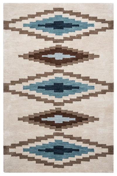 Brown, Beige, Teal Southwestern / Lodge Area Rug