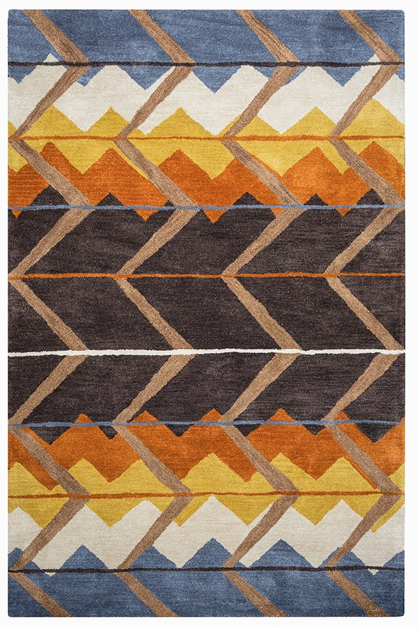 Blue, Off White, Gold, Rust Southwestern / Lodge Area Rug