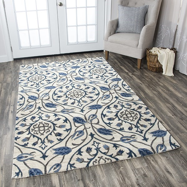 Ivory, Blue, Gray, Navy Moroccan Area Rug