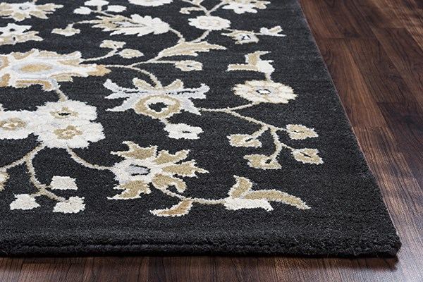 Black, Light Gray, Brown, Blue Traditional / Oriental Area Rug