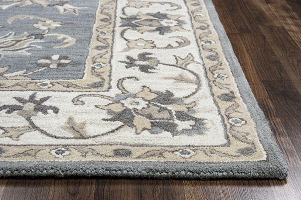 Blue, Ivory, Dark Taupe, Navy Traditional / Oriental Area Rug