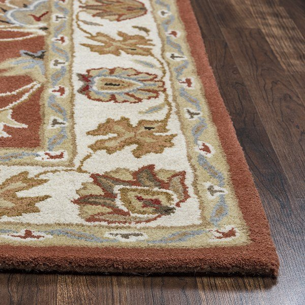 Rust, Blue, Khaki Traditional / Oriental Area Rug