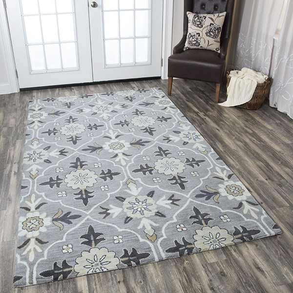 Blue, Tan, Gray Contemporary / Modern Area Rug