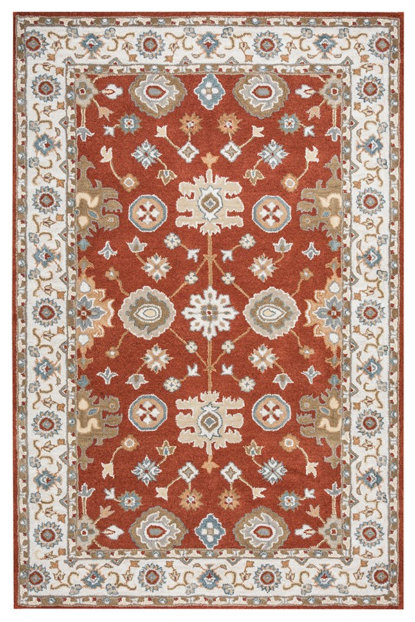 Rust, Blue, Khaki, Tan Traditional / Oriental Area Rug