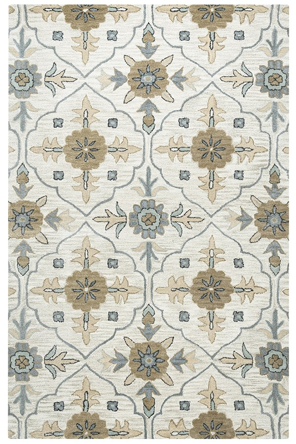 Taupe, Beige, Blue, Brown Traditional / Oriental Area Rug