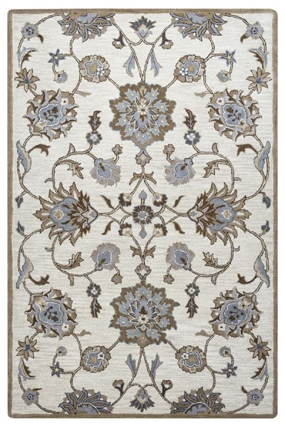 Taupe, Blue, Brown Traditional / Oriental Area Rug