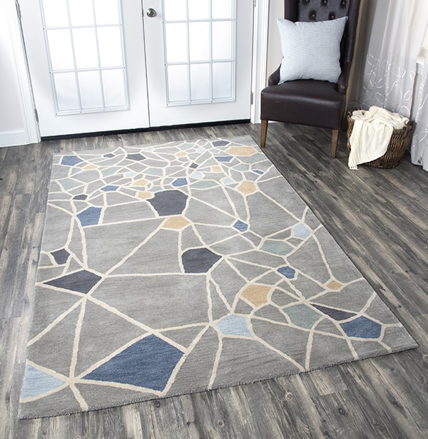 Gray, Ivory, Blue, Yellow Contemporary / Modern Area Rug