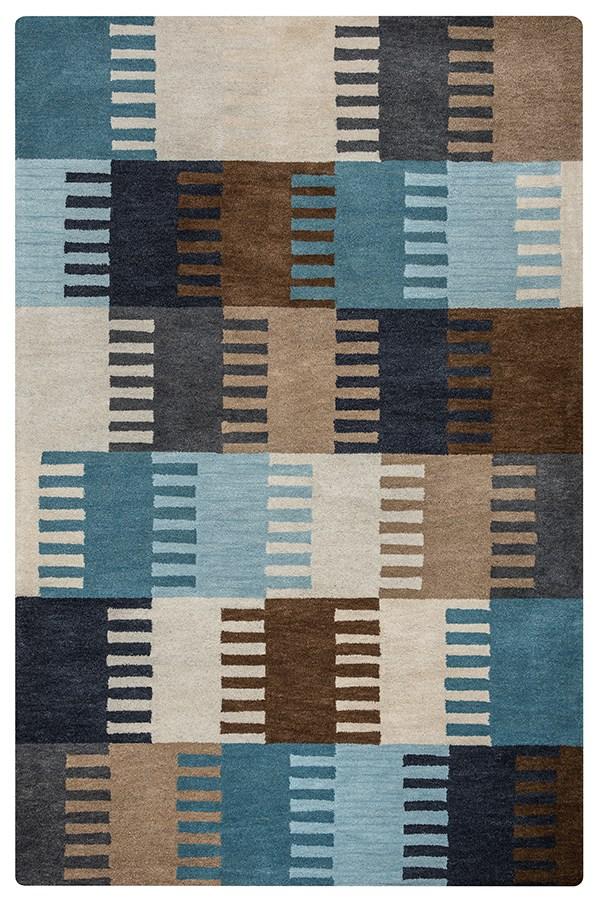 Aqua, Navy, Brown, Tan Contemporary / Modern Area Rug