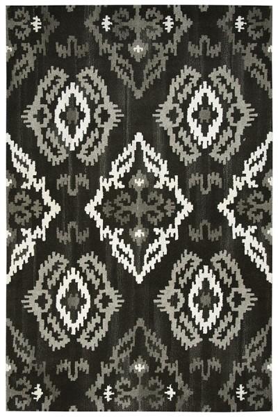 Black, Natural Contemporary / Modern Area Rug