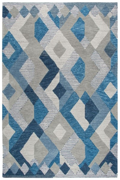 Natural, Dark Blue, Grey (A) Geometric Area Rug