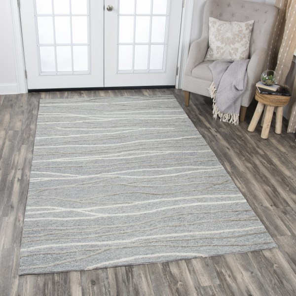 Grey, Natural, Brown (A) Contemporary / Modern Area Rug