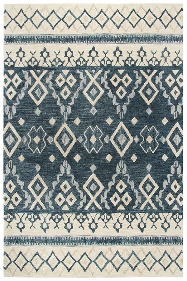 Natural, Grey, Dark Blue (A) Southwestern / Lodge Area Rug