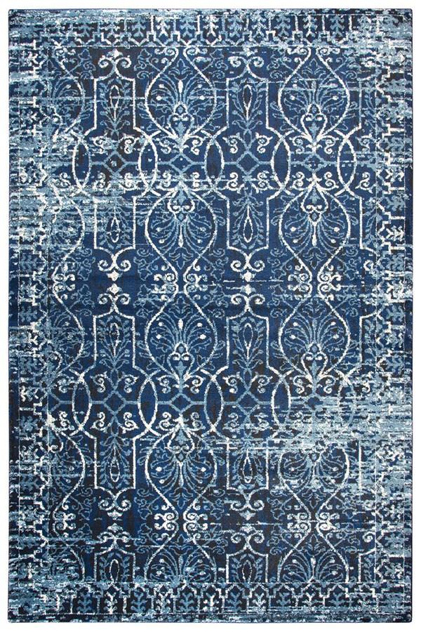 Dark Blue, Ivory, Black Vintage / Overdyed Area Rug