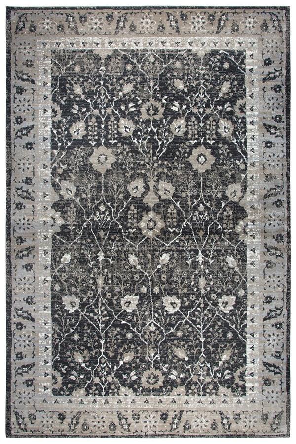 Black, Grey, Tan, Ivory Traditional / Oriental Area Rug