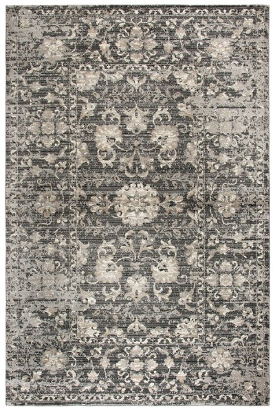 Grey, Dark Grey, Tan, Black Vintage / Overdyed Area Rug
