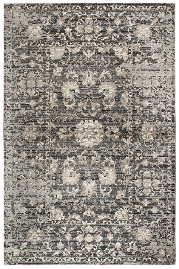 Grey, Dark Grey, Tan, Black Vintage / Overdyed Area Rug
