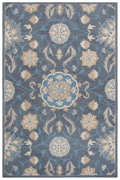 Dark Grey, Blue, Tan (A) Traditional / Oriental Area Rug