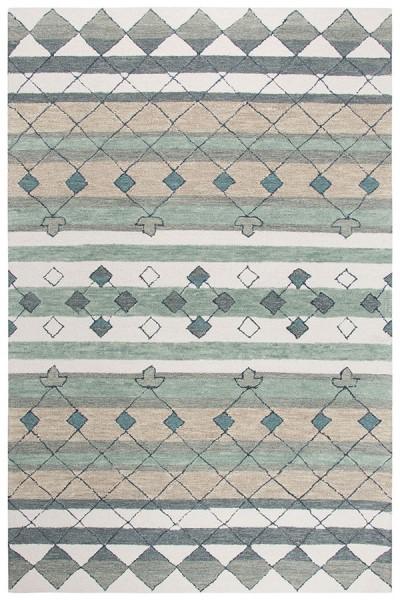 Grey, Blue, Sage Green (A) Transitional Area Rug