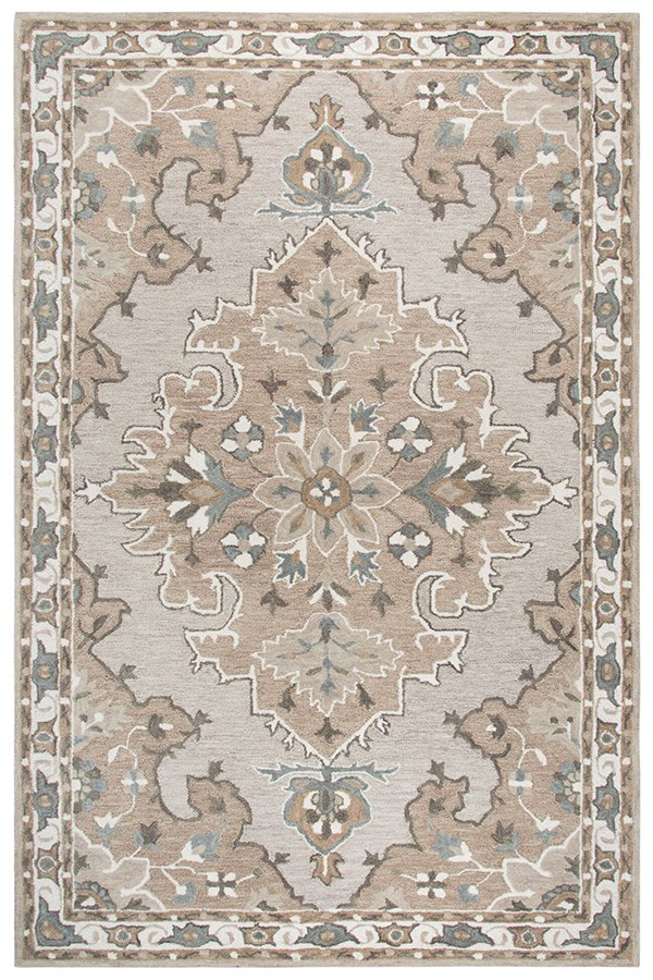 Tan, Taupe, Grey, Ivory (A) Traditional / Oriental Area Rug