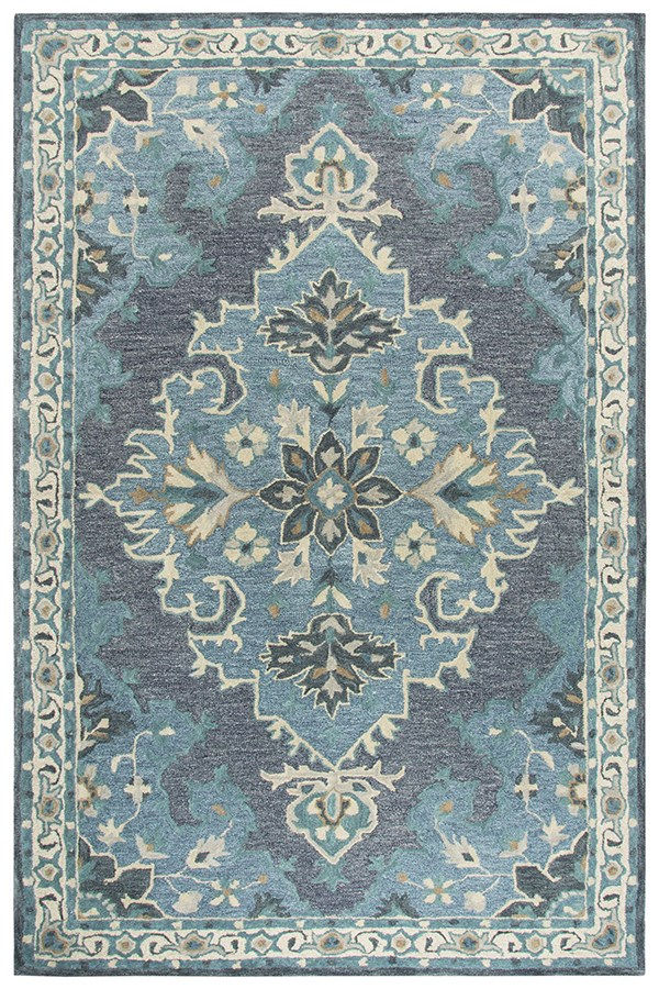 Dark Grey, Blue, Natural (A) Traditional / Oriental Area Rug