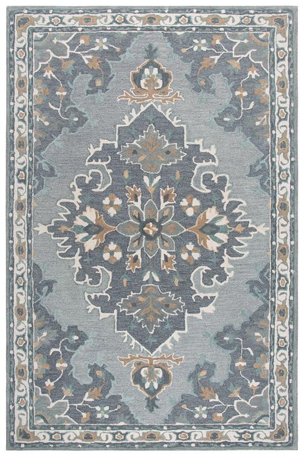 Grey, Dark Beige, Blue (A) Traditional / Oriental Area Rug