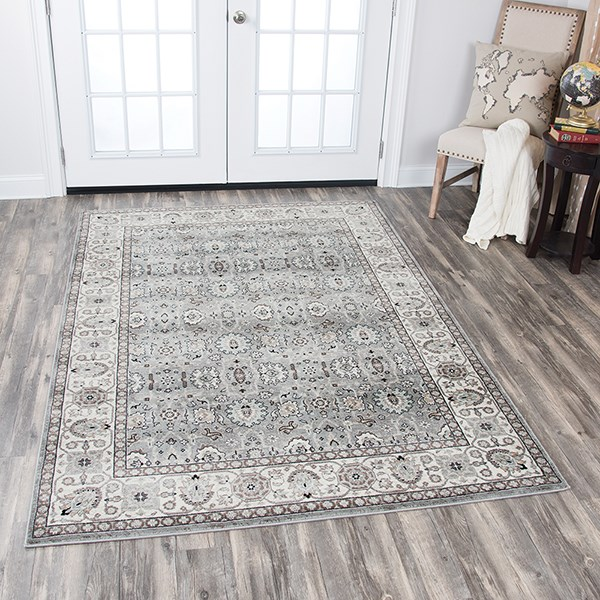 Grey, Ivory, Taupe, Sage Green Traditional / Oriental Area Rug
