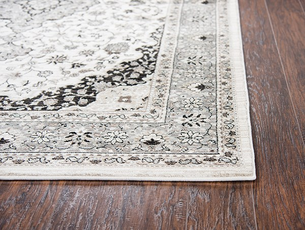 Ivory, Grey, Taupe, Black, Sage Green, Traditional / Oriental Area Rug