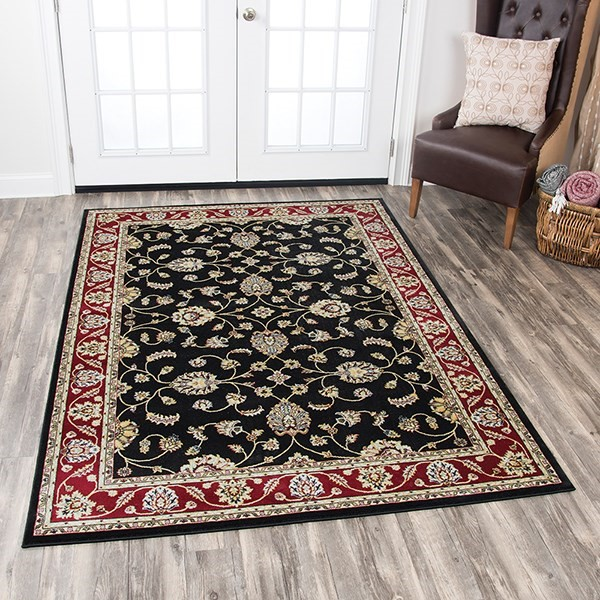 Black, Red, Ivory, Sage Green, Grey Traditional / Oriental Area Rug