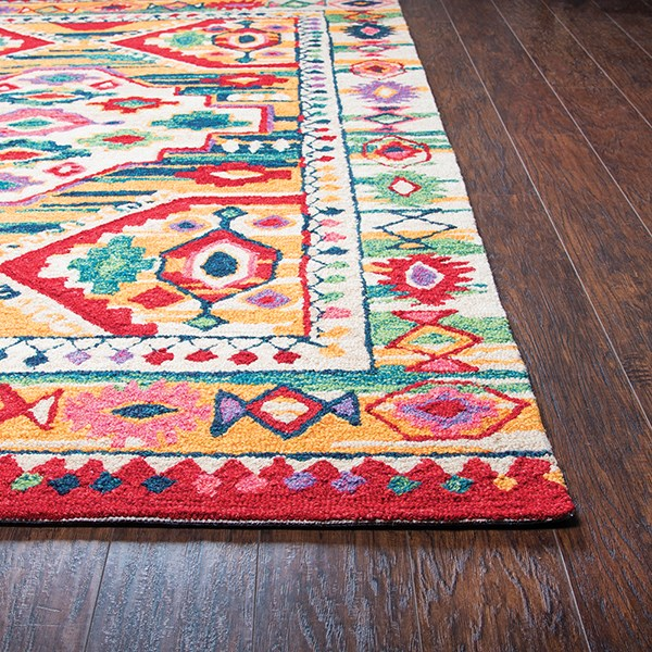 Natural, Blue, Teal, Pink, Red Moroccan Area Rug