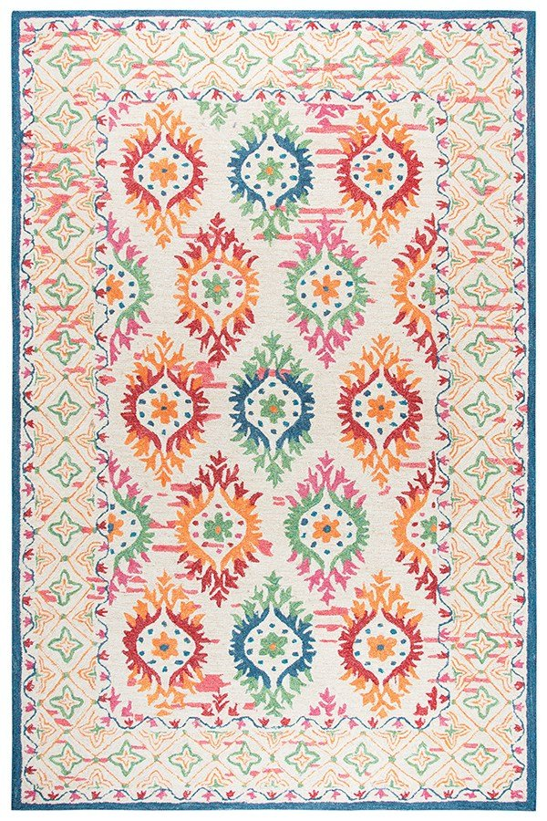 Ivory, Orange, Blue, Green, Pink Moroccan Area Rug