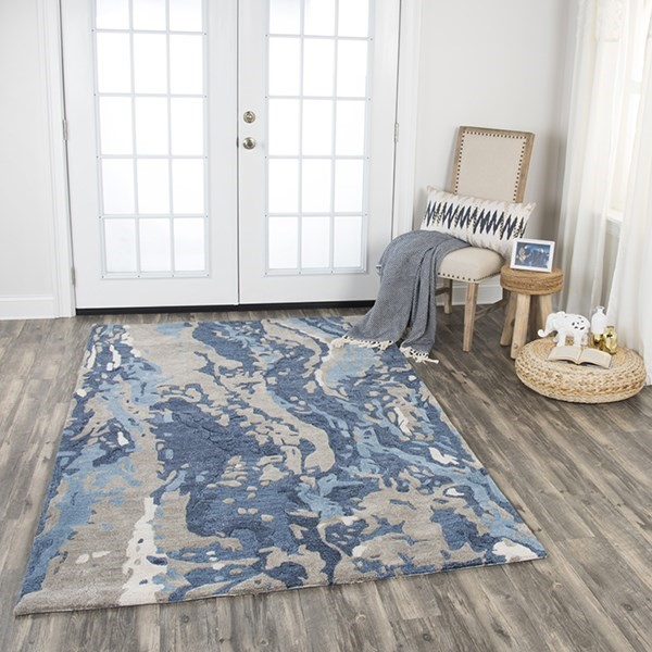 Blue, Dark Blue, Grey, Taupe Abstract Area Rug