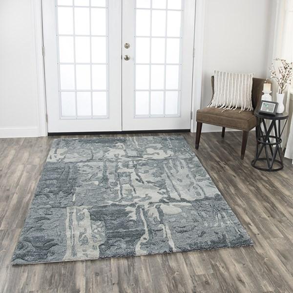 Grey, Light Grey, Medium Grey Abstract Area Rug