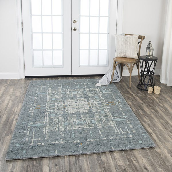 Grey, Light Grey, Teal, Gold Abstract Area Rug