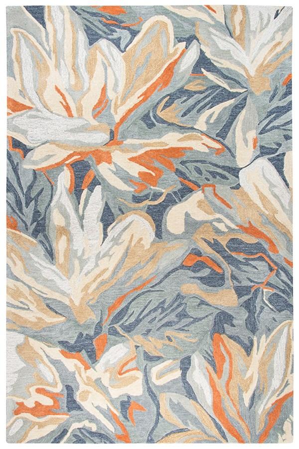 Blue, Grey, Beige, Orange Floral / Botanical Area Rug