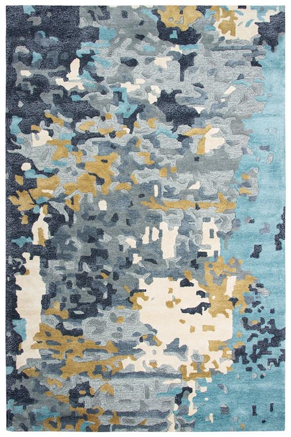 Grey, Dark Grey, Teal, Gold Abstract Area Rug