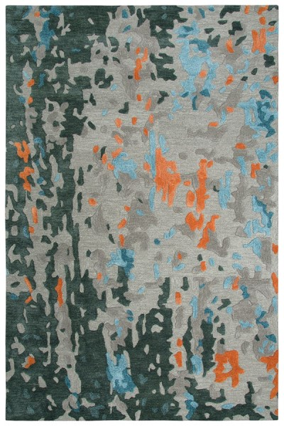 Taupe, Grey, Teal, Orange Abstract Area Rug