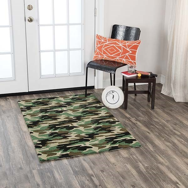 Green, Brown (PD-207B) Children's / Kids Area Rug