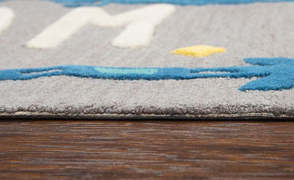 Grey, Blue (PD-599A) Children's / Kids Area Rug