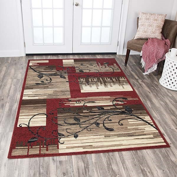 Red, Light Brown, Sage Green, Black, Brown Contemporary / Modern Area Rug