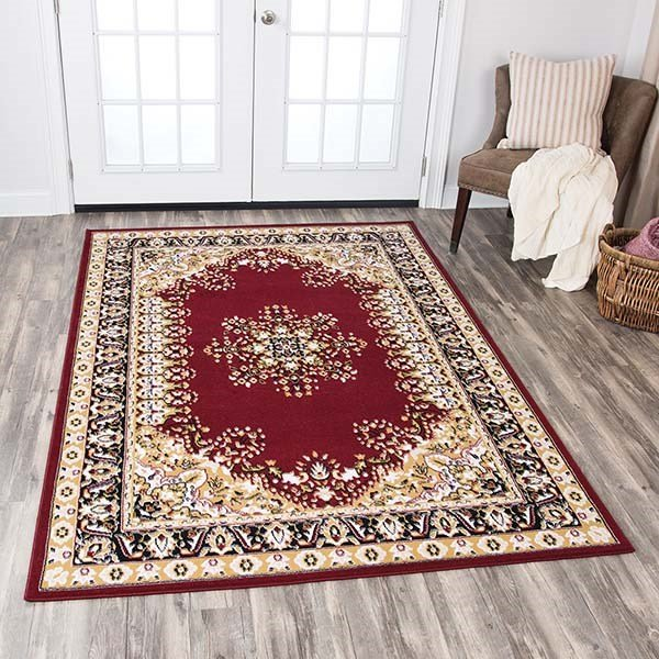 Red, Beige, Black, Ivory Traditional / Oriental Area Rug