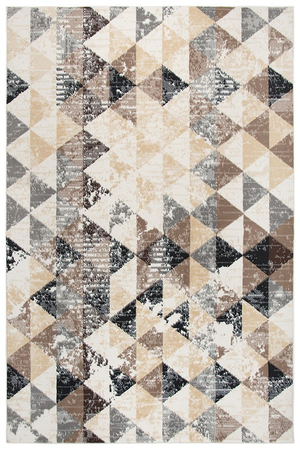 Ivory, Beige, Taupe, Grey, Black, Brown Contemporary / Modern Area Rug