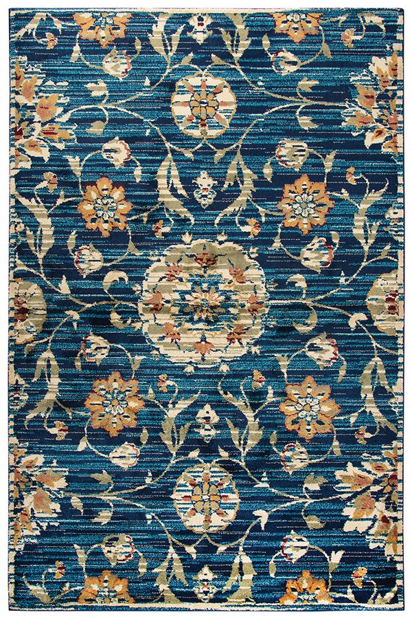 Dark Blue, Teal, Green, Rust, Red Traditional / Oriental Area Rug