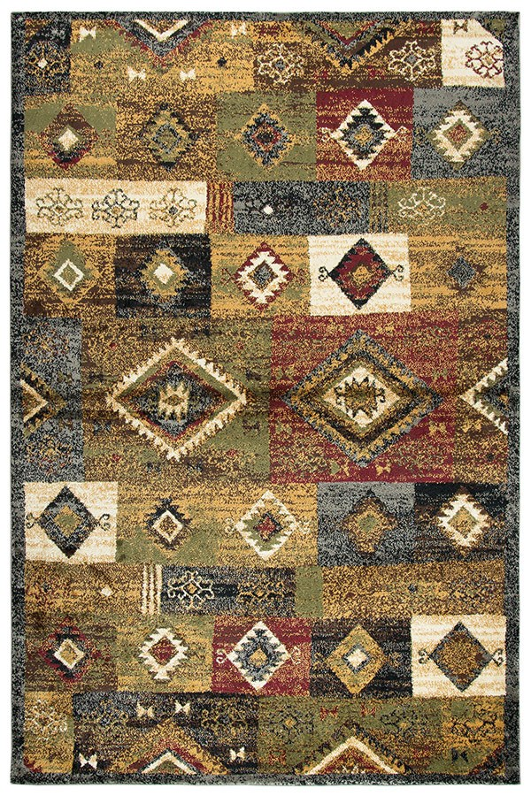 Gold, Red, Green, Blue, Ivory, Grey, Brown Southwestern / Lodge Area Rug