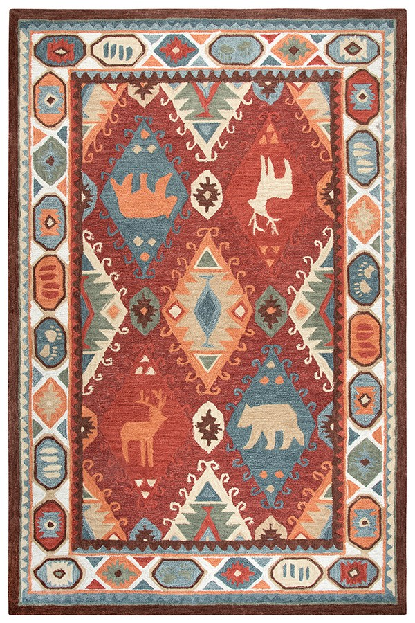 Red, Blue, Beige, Brown Southwestern / Lodge Area Rug